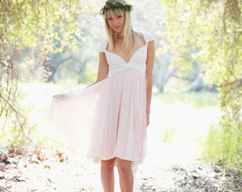 Short Chiffon Infinity Wrap Dress- Custom choose colors~ Pink Swan Tulle ~All Sizes~ Choose Hem cut-High/ Low, or Straight