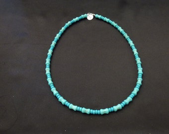 Beautiful Vintage Blue Green Turquoise Necklace Unique Concave Bead