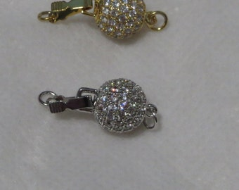 8 MM CZ Round Clasp (Gold Plated)