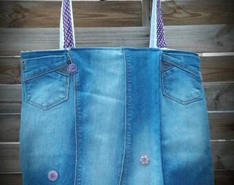 Bag type TOTE BAG cotton blue jeans.