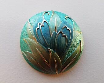 Round Brooch with Blue Iris Flowers