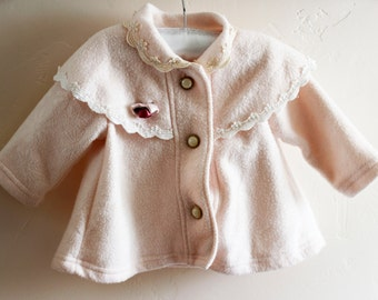 Girl Coat 60's Style - Pink Vintage Baby Retro - Beautiful!