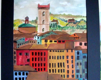 SIENNA ITALY Tuscany Original Print Watercolor Italy Italian Europe European Landscape Tuscan Oil Painting Unframed Colorful Houses