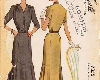SZ 20/Bust 38 - Vintage 1940s Dress Pattern - McCall 7355 -  Misses' V-Neck Button Front Dress with Scalloped Panel Seams in Two Variations