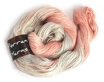 Linen blend Double Knitting yarn, hand dyed DK baby alpaca linen silk light worsted crochet yarn skein Perran Yarns Smoked Salmon, uk seller