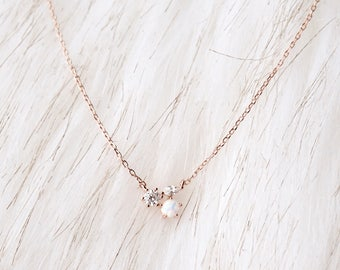 Rose Gold White Opal Necklace | Crystal and Opal Necklace | Dainty Necklace | Delicate Necklace | Simple Necklace | Minimal Necklace