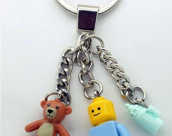 Baby Minifigure with Bottle & Teddy Bear Keychain / Bagcharm Made from LEGO Parts