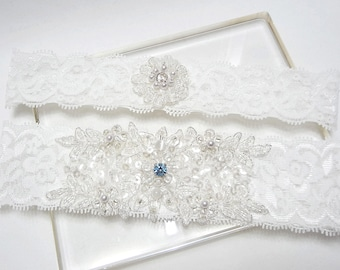 Lace garter set, wedding garter set, white garter set, lace wedding garter set, something blue wedding garter set