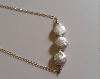 Coin pearl sterling silver necklace