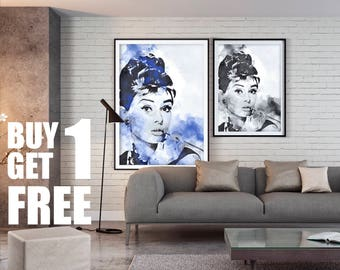 Audrey Hepburn, Actress, Wall Art, Instant Download Printable Art, Digital Art, Watercolor Print, Wall Prints, Blue Print,Black & White