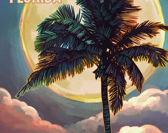 Panama City Beach, Florida - Palm and Moon (Art Prints available in multiple sizes)
