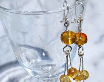 Mexico - Grains of gold amber earrings