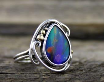 Ammolite ring, elvin flow, rainbow ammolite, blue ammolite, ammolite engagement, ammonite fossil ring, natural ammolite, woodland ring, boho