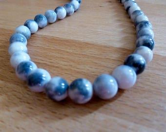 10 jade beads round 8mm black and white
