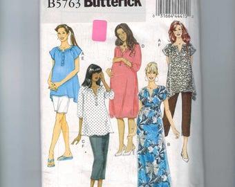 Womens Sewing Pattern Butterick B5763 5763 Maternity Dress Top Tunic Shorts Capris Pants Easy Plus Size 18W-24W Bust 40 42 44 46 UNCUT