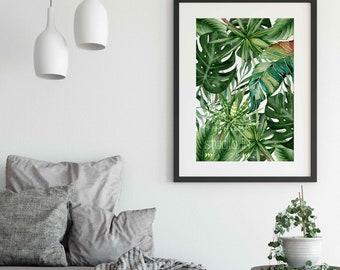 Green leaf poster, Tropical leaves wall art, Greenery wall, Tropical wall decor, Tropical green leaf, foliage wall decor,