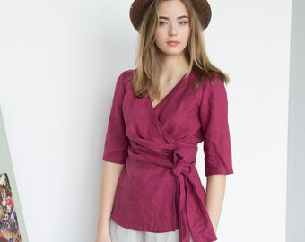 LINEN WRAP TOP organic women clothind for eco-friendly gift, summer linen casual clothing