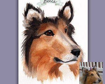 "TWO Custom Watercolor Pet Portraits - 5""x7"" each"