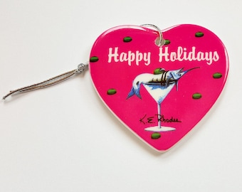 Marlin Martini Holiday Christmas ornament heart shaped porcelain ready to hang