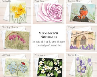 Assorted notecard set, watercolor notecards, watercolor stationery, custom stationery set, personalized stationery set, mixed notecard set