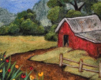Needle Felting -- Barn and Poppies -- wool painting -- wool landscape