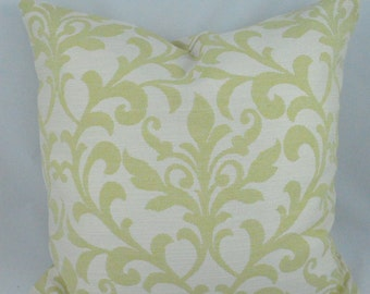 Soft Green and White Damask Cushion Cover. Multiple sizes available.
