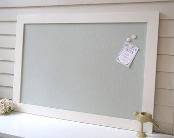 MAGNET BOARD Bulletin Board - Framed Magnetic Memo Board - Deluxe Size with Handmade Modern Frame and Spa Blue Green Fabric