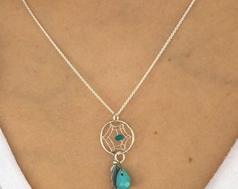 Sterling Silver Dream Catcher Necklace with Tiny Stone Drop