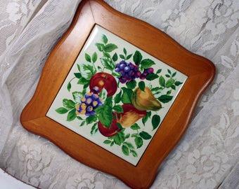 Vintage Tile and Wood Frame Fruit and Leaf Motif Pomerantz Co.