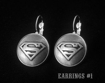 Silver Superman Earrings -Super Hero Earrings -Gift For Her -Personalized Earrings