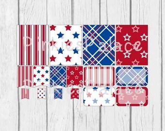 16 Planner Stickers Full Box Half Box Flags Patriotic Planner Stickers Americana Stickers PS379 Fits Erin Condren