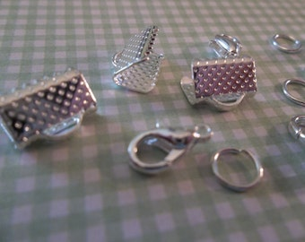Medium Size Silver Ribbon Crimps Clasps 3/8 inch or 10mm with Jump RIngs & Lobster Clasps - 3 Sets