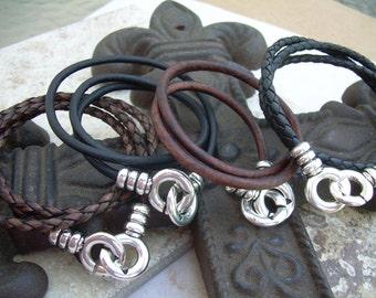 Infinity Bracelet, Leather Bracelet, Infinity Leather Bracelet, Triple Wrap, Interlocking Clasp, Mens Jewelry, Womens Jewelry