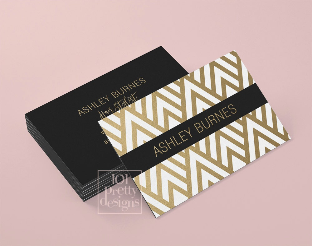 Golden business card template art deco business card design