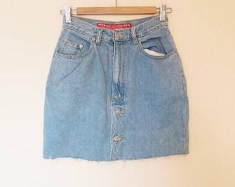 Denim Skirt Vintage High Waisted Denim Mini Skirt Vintage Button Down Blue Denim Skirt Women's High Waist A-Line Denim Skirt Blue Jean Skirt