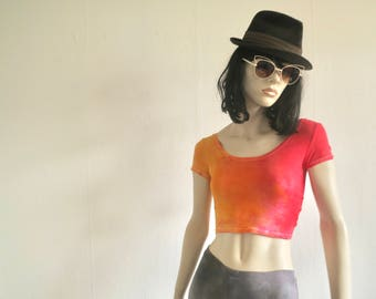 Hot Festival Top, size S, Boho, Summer, Croptop, red, orange