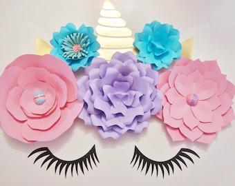 Paper Flower Unicorn Display - Unicorn Theme | Unicorn Paper Flower | Baby Nursery | Birthday Party Decor | Unicorn Backdrop | Home Decor