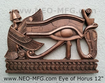 "History Egyptian Pharaoh Eye of Horus Sculptural wall relief Neo-Mfg 12"""