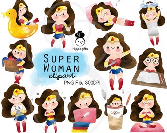 Super woman watercolor clipart instant download,clipart commercial use,PNG file 300 DPI A008