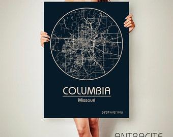 COLUMBIA Missouri CANVAS Map Columbia Missouri Poster City Map Columbia Missouri Art Print Columbia Missouri poster Columbia Missouri