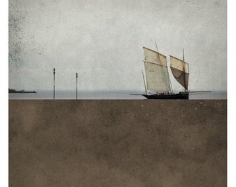 Pole Brun (Landscape Photography - Fine Art Print - Sea - SailBoat-  Minimal Wall Art - Brown)