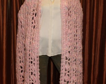 Extra Long Wrap in Soft Pink and White Yarns