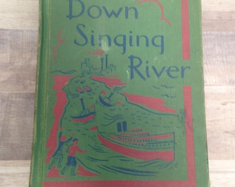Down Singing River, Vintage 1953 School Book, Betts Basic Reader, Second Grade Text Book, Retro Graphics