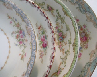 Vintage Mismatched China Soup Bowls, Salad Bowls for Easter, Mother's Day, Farmhouse, Shabby, Cottage Chic, Wedding,Bridesmaid Gift-Set of4