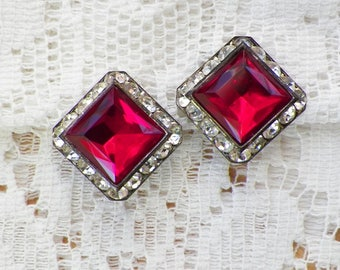 Beautiful Square Ruby Red and Clear Rhinestone Clip On Earrings, Rhinestones, Geometric