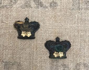 Metal crowns,rusty patina green,wedding favor crown,crown findings,flower findings,crown with flowers,patina crown,flowered crowns, santos