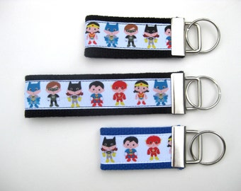 Superhero Keychain- Mini or Wristlet Key Fob- Backpack Zipper Pull- Kids Key Chain- Superhero Keychain- Key Lanyard- Kids Gift Under 10