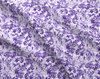Purple Watercolor Floral Fabric - Tangled Garden Violet White By Gail Mcneillie - Watercolor Cotton Fabric By The Yard With Spoonflower