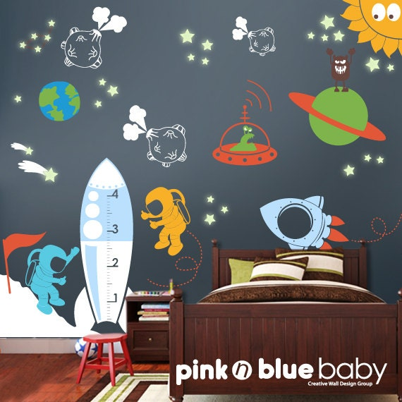 Space wall decal kids wall decor playroom decals for Outer space classroom decor