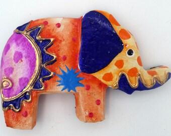 Magnet magnet elephant / OWL / gecko / turtle / frog / wooden tropical fish painted kitchen fridge